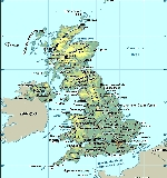 Physical map United Kingdom и Северной of Ireland